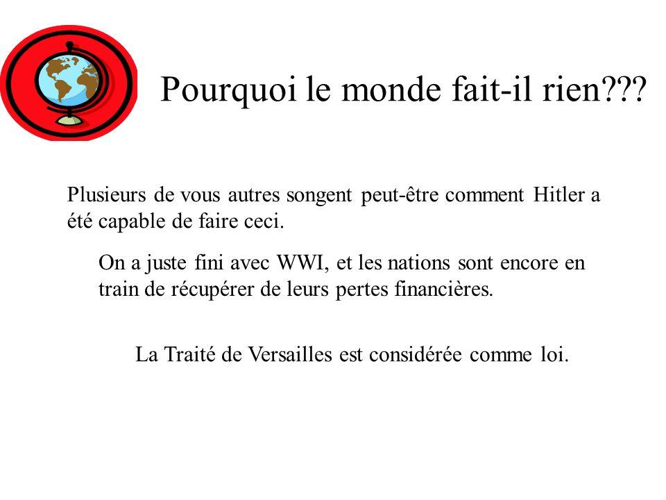 Hitler est en contôle. Sa première étape était d`agrandir son armée. Allemagne A A A A AAAAAAAAAAAAAA A A représente ARMÉE