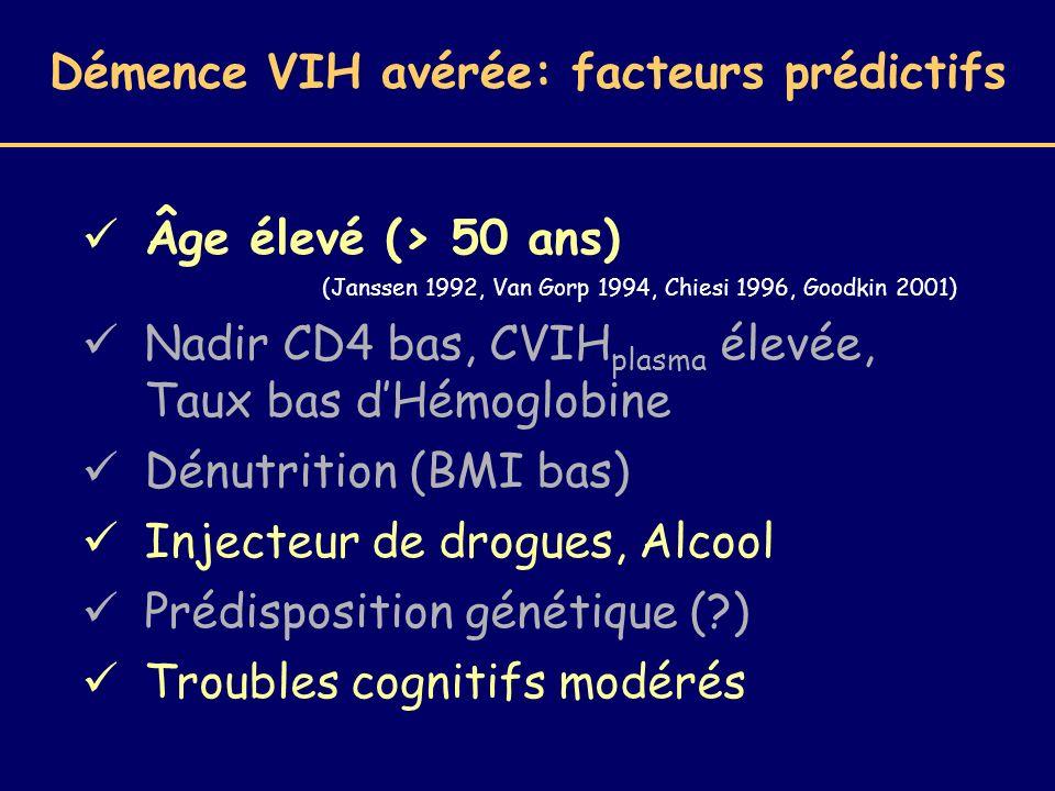 Démence VIH avérée: facteurs prédictifs Âge élevé (> 50 ans) (Janssen 1992, Van Gorp 1994, Chiesi 1996, Goodkin 2001) Nadir CD4 bas, CVIH plasma élevé