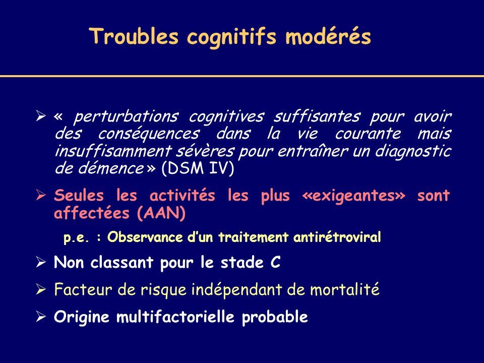 Troubles cognitifs modérés « perturbations cognitives suffisantes pour avoir des conséquences dans la vie courante mais insuffisamment sévères pour en