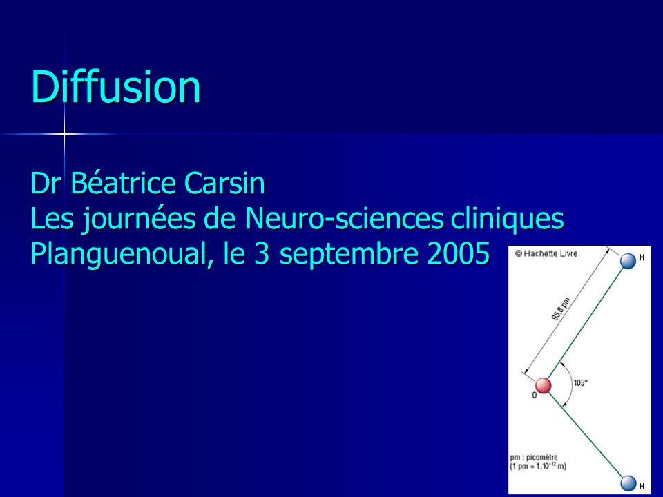 Imagerie de diffusion imagerie « indépendante » des T1, T2, T2*, Rho imagerie « indépendante » des T1, T2, T2*, Rho dépendante de la mobilité des molécules deau dépendante de la mobilité des molécules deau