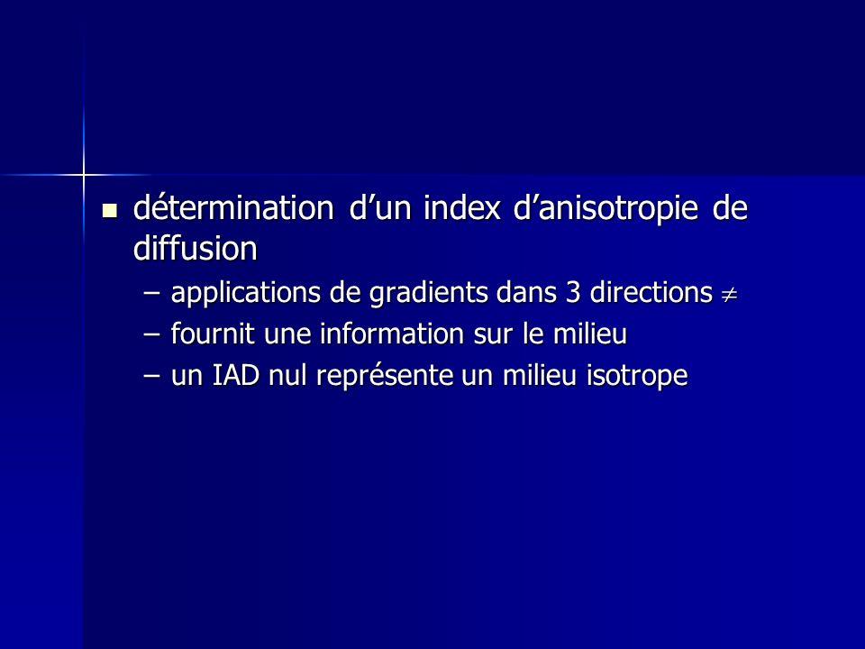 détermination dun index danisotropie de diffusion détermination dun index danisotropie de diffusion –applications de gradients dans 3 directions –appl