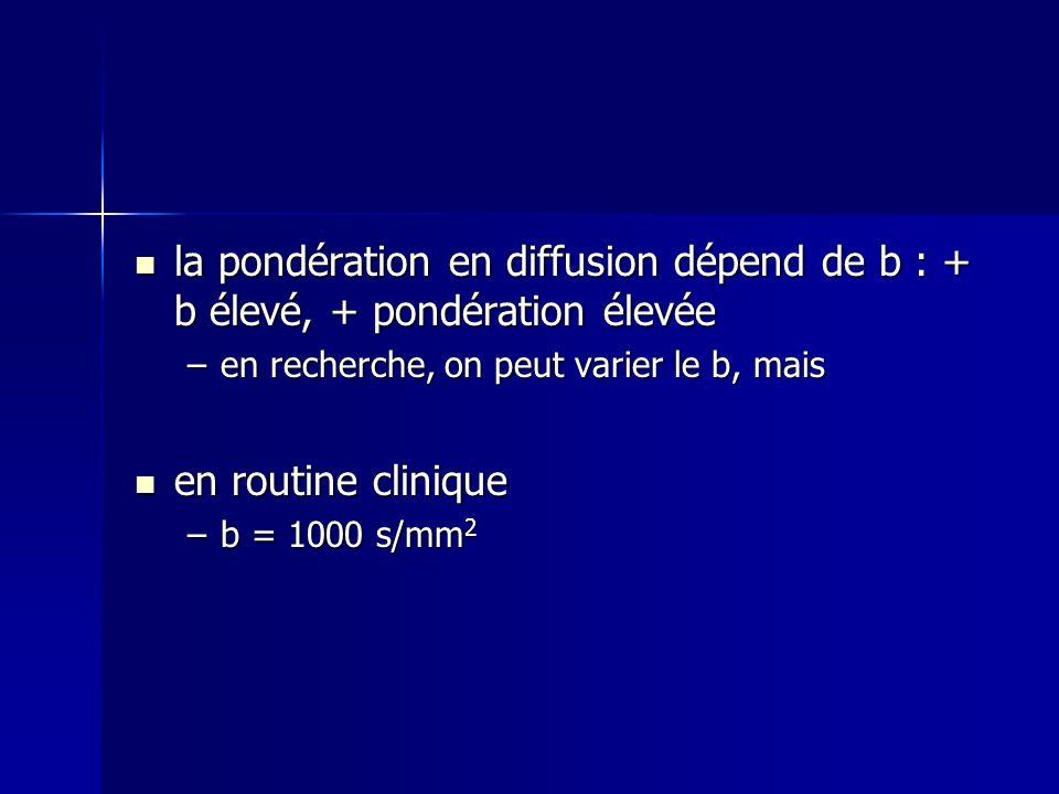 la pondération en diffusion dépend de b : + b élevé, + pondération élevée la pondération en diffusion dépend de b : + b élevé, + pondération élevée –e