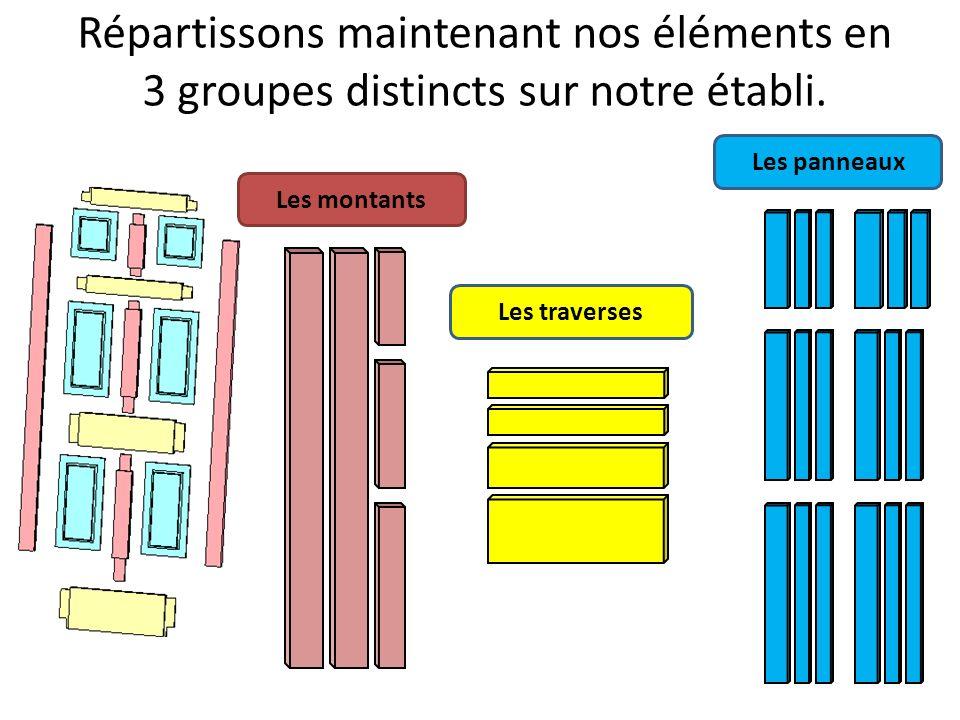 Répartissons maintenant nos éléments en 3 groupes distincts sur notre établi. Les montants Les traverses Les panneaux