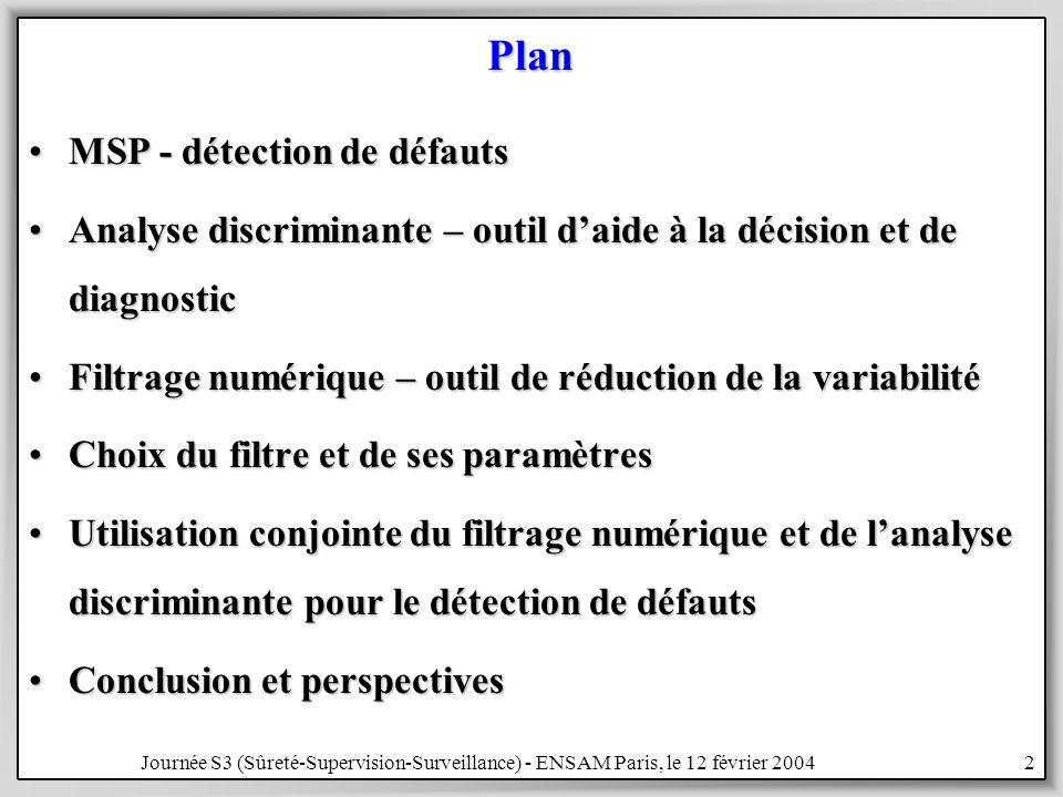 Journée S3 (Sûreté-Supervision-Surveillance) - ENSAM Paris, le 12 février 200423 Choix du filtre numérique passe-bas Critères de sélection en temps –temps de réponse court –sans distorsions –phase linéaire Butterworth Tchebycheff type I Tchebycheff type II