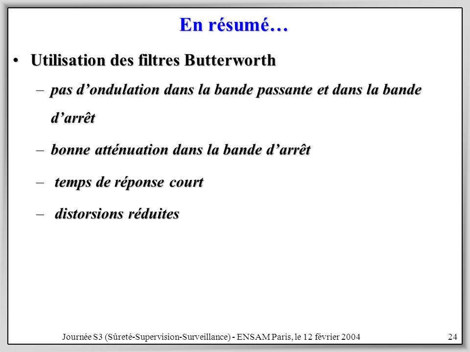 Journée S3 (Sûreté-Supervision-Surveillance) - ENSAM Paris, le 12 février 200424 En résumé… Utilisation des filtres ButterworthUtilisation des filtres Butterworth –pas dondulation dans la bande passante et dans la bande darrêt –bonne atténuation dans la bande darrêt – temps de réponse court – distorsions réduites