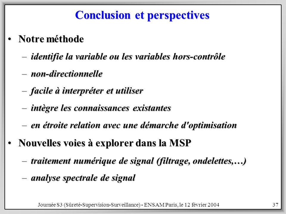 Journée S3 (Sûreté-Supervision-Surveillance) - ENSAM Paris, le 12 février 200437 Conclusion et perspectives Notre méthodeNotre méthode –identifie la variable ou les variables hors-contrôle –non-directionnelle –facile à interpréter et utiliser –intègre les connaissances existantes –en étroite relation avec une démarche d optimisation Nouvelles voies à explorer dans la MSPNouvelles voies à explorer dans la MSP –traitement numérique de signal (filtrage, ondelettes,…) –analyse spectrale de signal