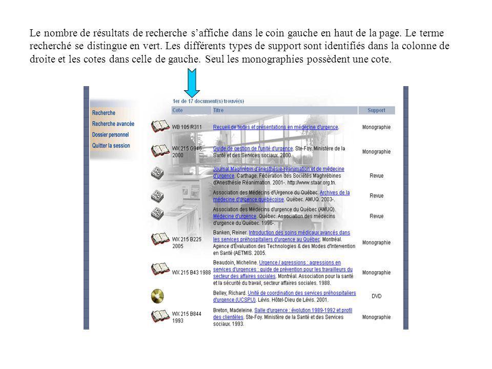 Le nombre de résultats de recherche saffiche dans le coin gauche en haut de la page. Le terme recherché se distingue en vert. Les différents types de