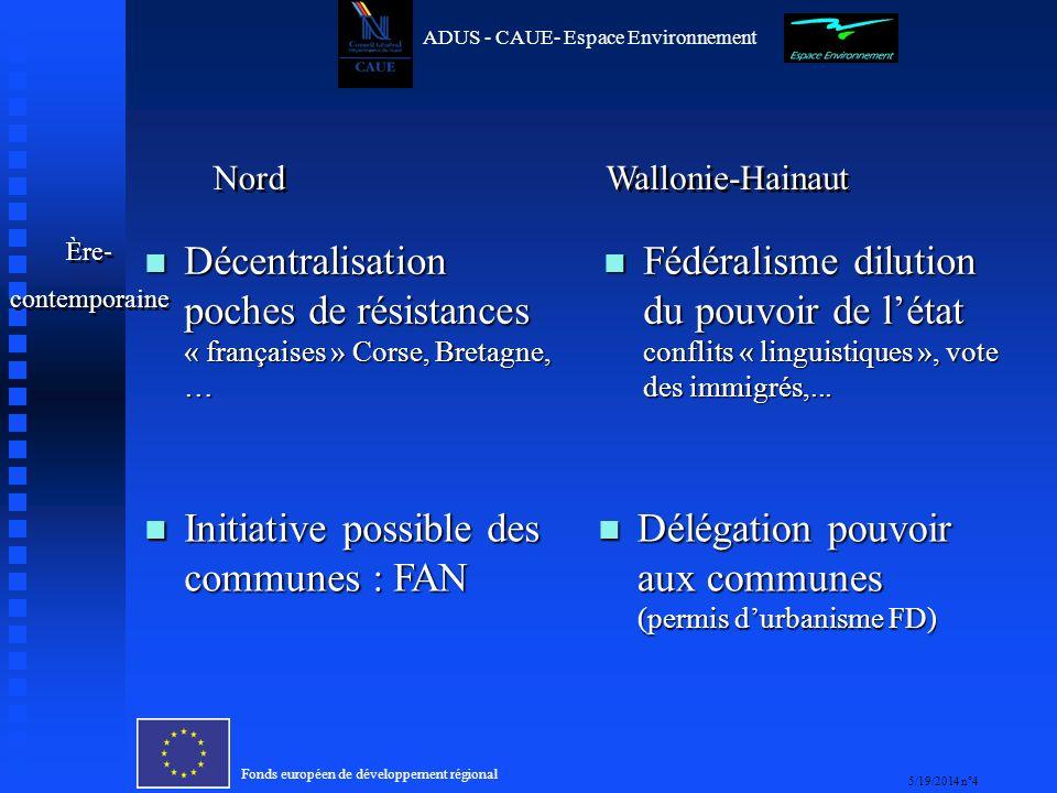 Fonds européen de développement régional 5/19/2014 n°15 ADUS - CAUE- Espace Environnement Quelques convergences et divergences culturelles franco- wallonnes autour de la participation -