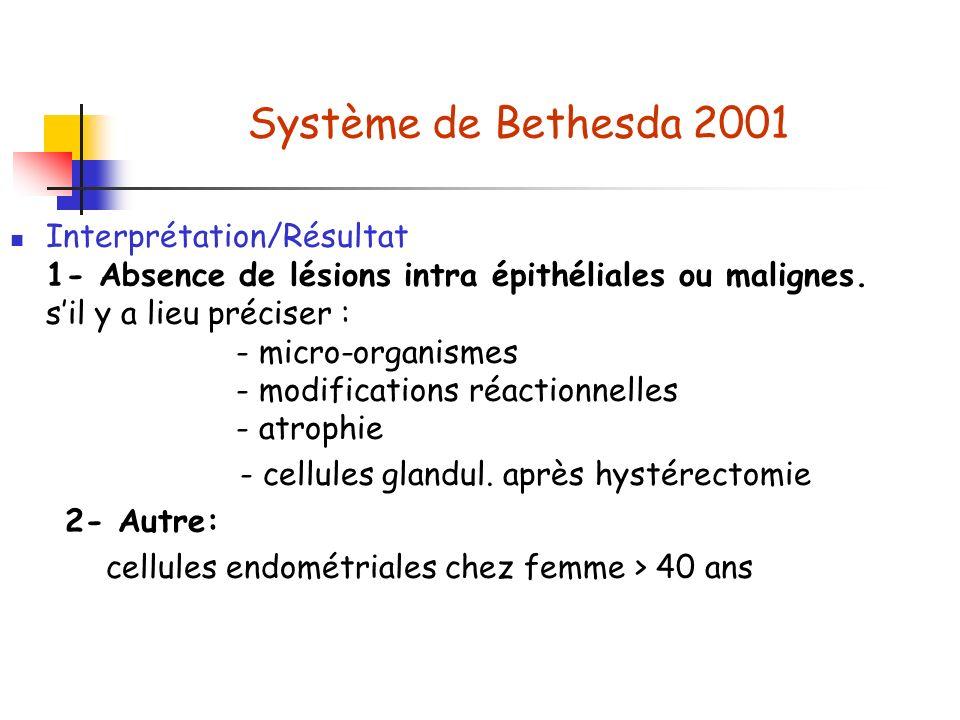 Système de Bethesda 2001 Interprétation/Résultat 1- Absence de lésions intra épithéliales ou malignes.
