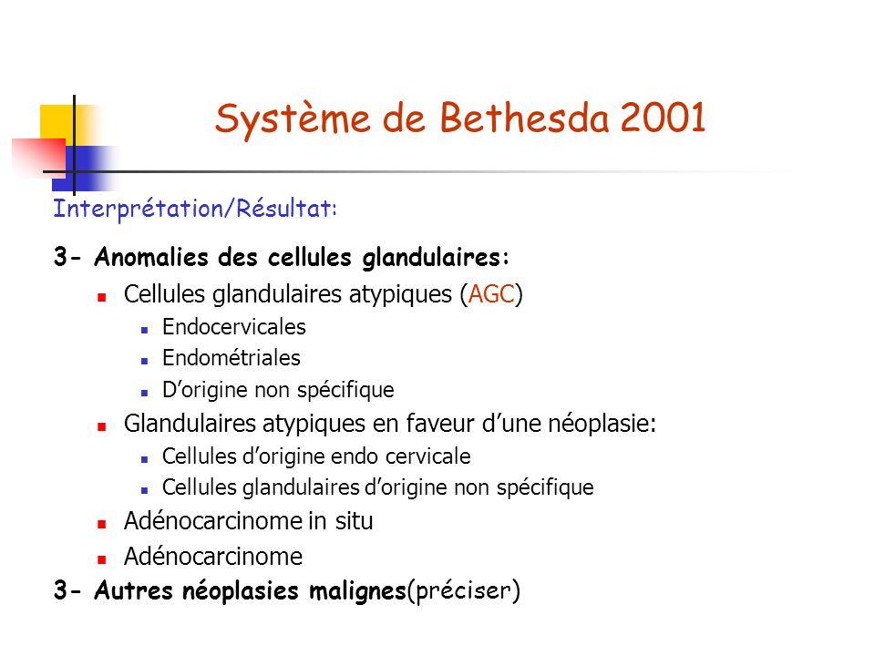 Système de Bethesda 2001 Interprétation/Résultat: 3- Anomalies des cellules glandulaires: Cellules glandulaires atypiques (AGC) Endocervicales Endométriales Dorigine non spécifique Glandulaires atypiques en faveur dune néoplasie: Cellules dorigine endo cervicale Cellules glandulaires dorigine non spécifique Adénocarcinome in situ Adénocarcinome 3- Autres néoplasies malignes(préciser)