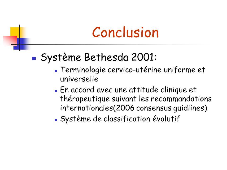 Conclusion Système Bethesda 2001: Terminologie cervico-utérine uniforme et universelle En accord avec une attitude clinique et thérapeutique suivant les recommandations internationales(2006 consensus guidlines) Système de classification évolutif