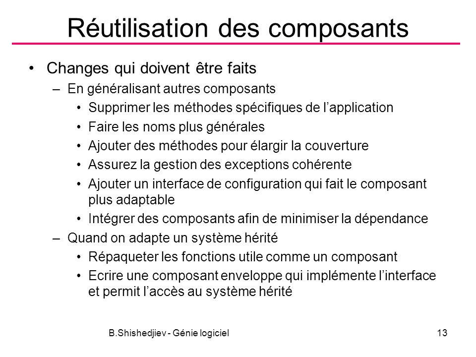 B.Shishedjiev - Génie logiciel13 Réutilisation des composants Changes qui doivent être faits –En généralisant autres composants Supprimer les méthodes