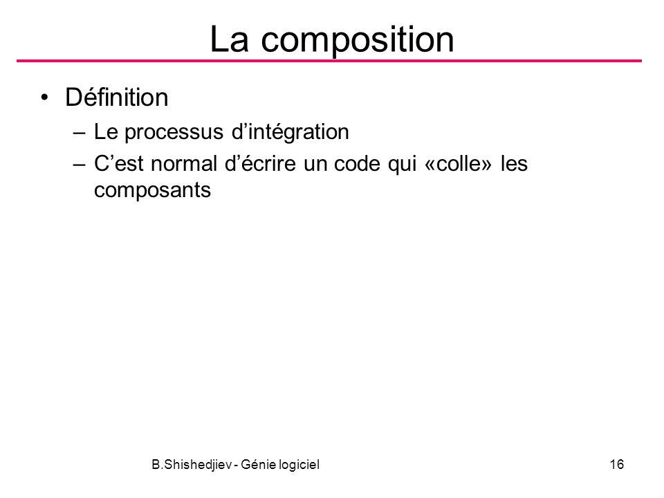 B.Shishedjiev - Génie logiciel16 La composition Définition –Le processus dintégration –Cest normal décrire un code qui «colle» les composants