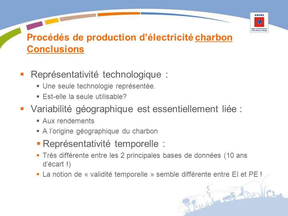 Procédés de production délectricité charbon Conclusions Représentativité technologique : Une seule technologie représentée.