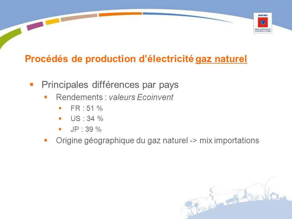 Procédés de production délectricité gaz naturel Principales différences par pays Rendements : valeurs Ecoinvent FR : 51 % US : 34 % JP : 39 % Origine géographique du gaz naturel -> mix importations