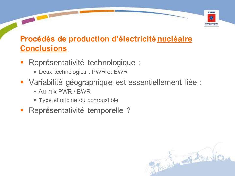 Procédés de production délectricité nucléaire Conclusions Représentativité technologique : Deux technologies : PWR et BWR Variabilité géographique est essentiellement liée : Au mix PWR / BWR Type et origine du combustible Représentativité temporelle ?