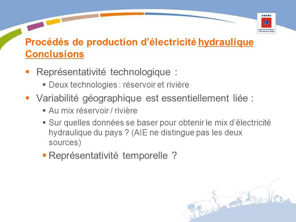 Procédés de production délectricité hydraulique Conclusions Représentativité technologique : Deux technologies : réservoir et rivière Variabilité géographique est essentiellement liée : Au mix réservoir / rivière Sur quelles données se baser pour obtenir le mix délectricité hydraulique du pays .