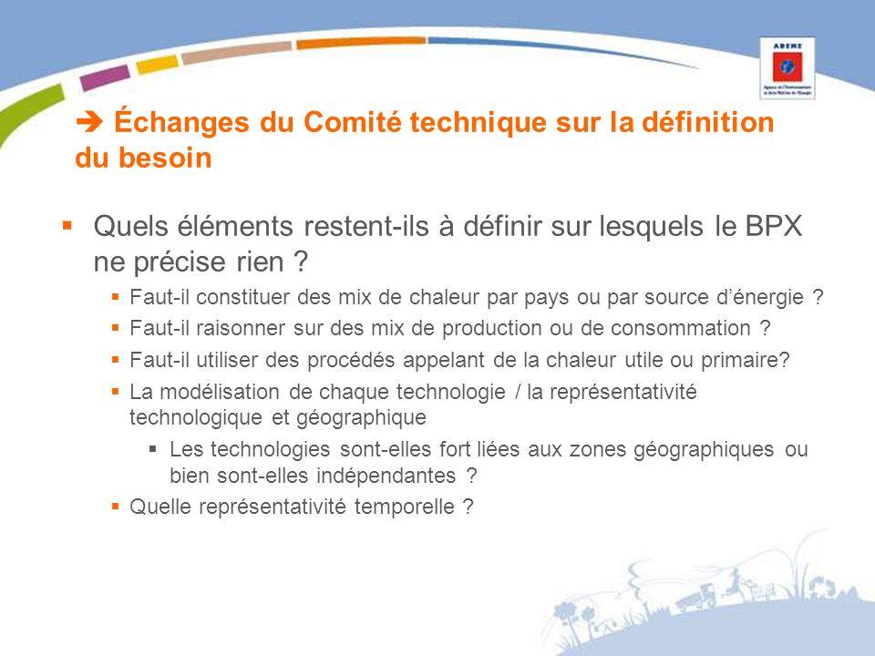 Échanges du Comité technique sur la définition du besoin Quels éléments restent-ils à définir sur lesquels le BPX ne précise rien .