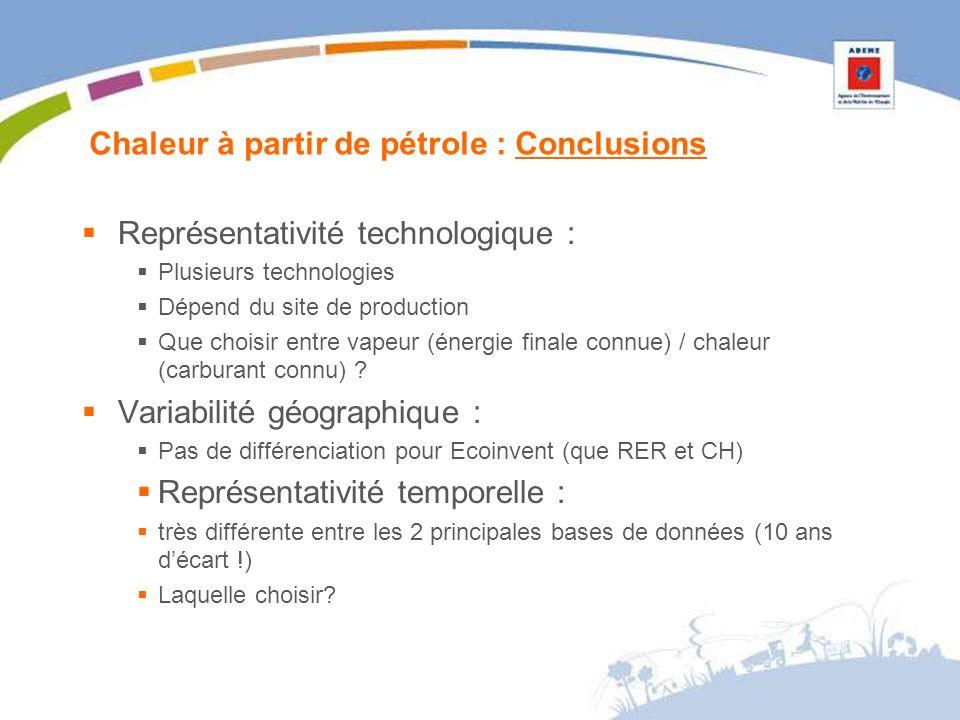 Chaleur à partir de pétrole : Conclusions Représentativité technologique : Plusieurs technologies Dépend du site de production Que choisir entre vapeur (énergie finale connue) / chaleur (carburant connu) .