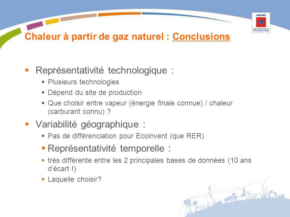 Chaleur à partir de gaz naturel : Conclusions Représentativité technologique : Plusieurs technologies Dépend du site de production Que choisir entre vapeur (énergie finale connue) / chaleur (carburant connu) .