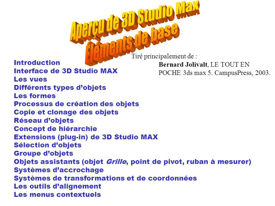 Introduction Interface de 3D Studio MAX Les vues Différents types dobjets Les formes Processus de création des objets Copie et clonage des objets Rése