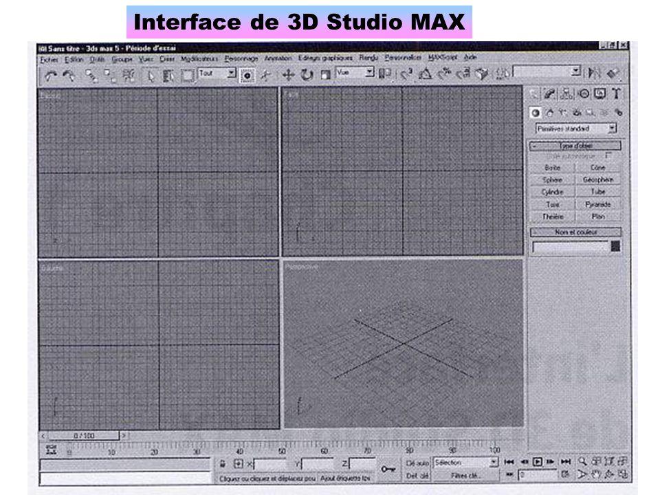 Les vues Par défaut, 3D Studio Max montre un objet 3D avec quatre vues : Dessus, Face, Gauche, Perspective.