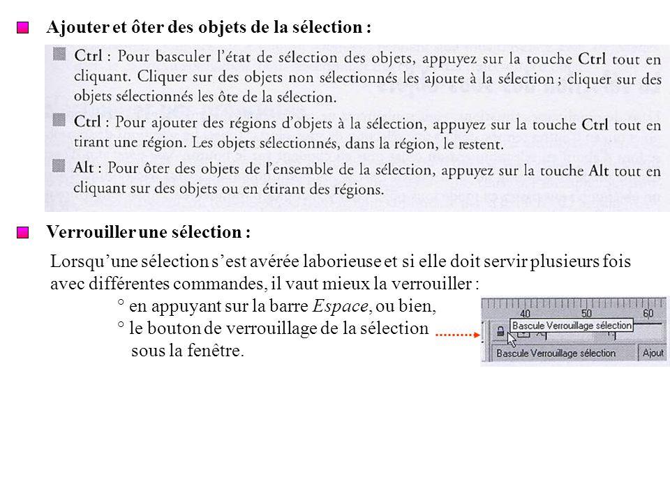 Ajouter et ôter des objets de la sélection : Verrouiller une sélection : Lorsquune sélection sest avérée laborieuse et si elle doit servir plusieurs f
