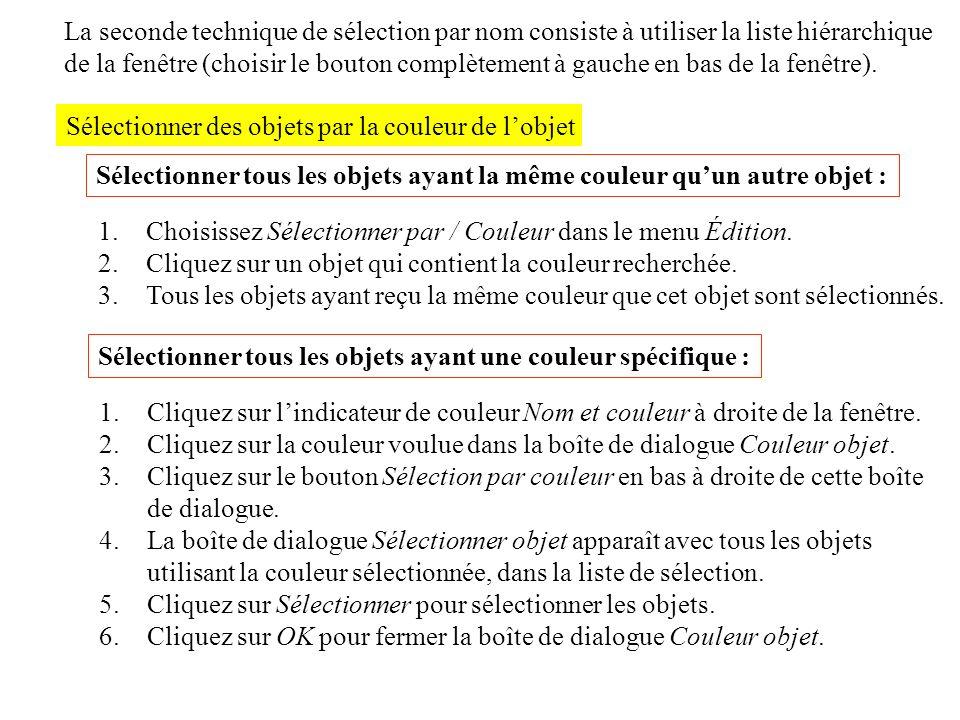 Sélectionner des objets par la couleur de lobjet La seconde technique de sélection par nom consiste à utiliser la liste hiérarchique de la fenêtre (ch