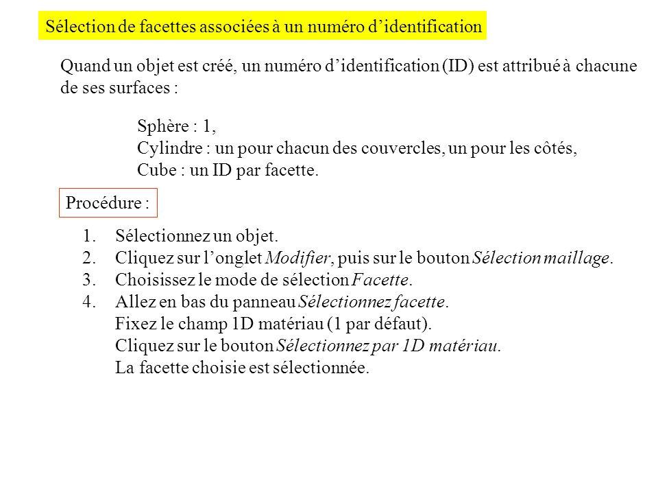 Sélection de facettes associées à un numéro didentification Quand un objet est créé, un numéro didentification (ID) est attribué à chacune de ses surf