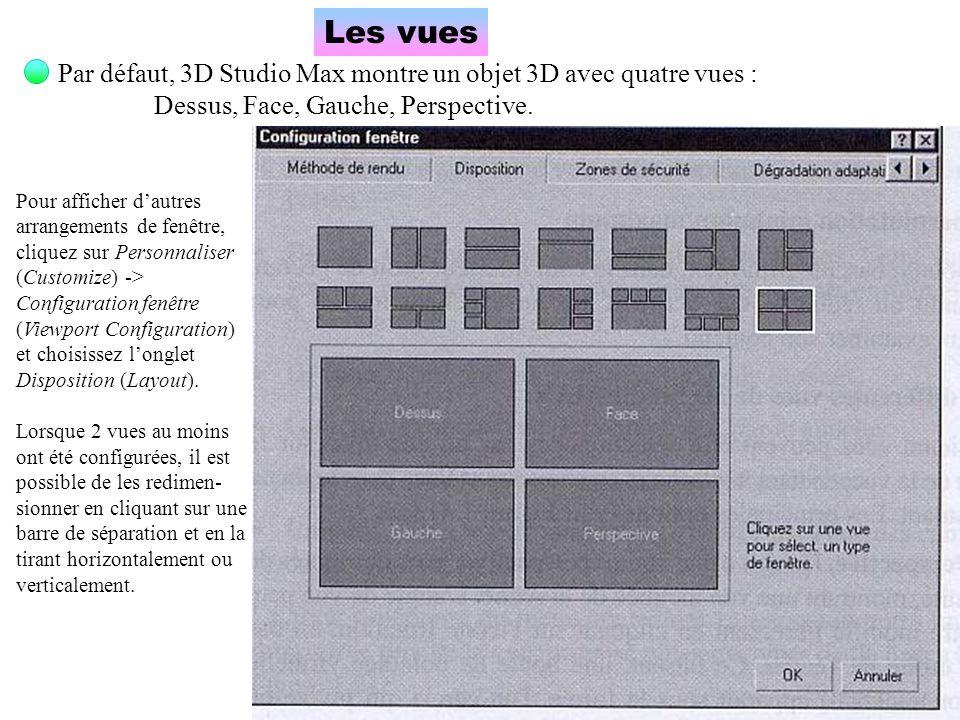 Les vues Par défaut, 3D Studio Max montre un objet 3D avec quatre vues : Dessus, Face, Gauche, Perspective. Pour afficher dautres arrangements de fenê