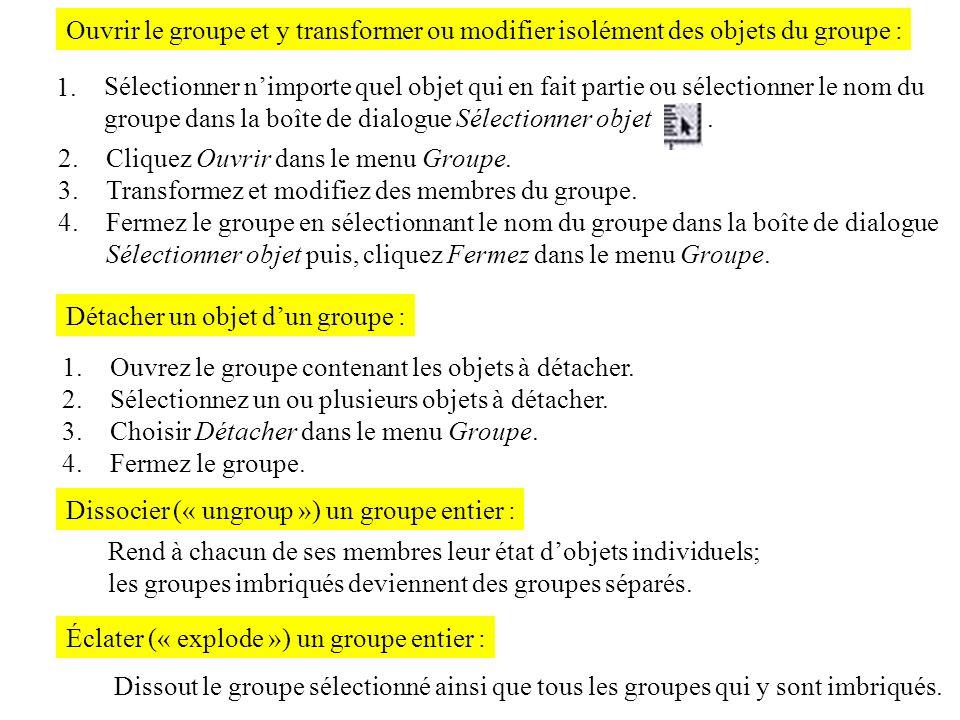 Ouvrir le groupe et y transformer ou modifier isolément des objets du groupe : 1. Sélectionner nimporte quel objet qui en fait partie ou sélectionner