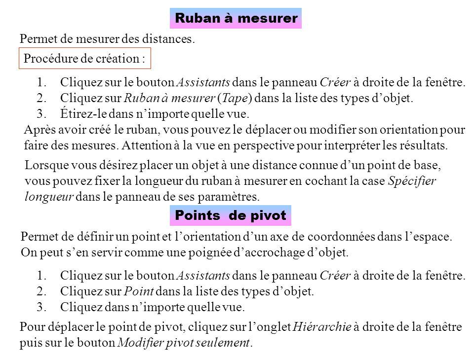 Ruban à mesurer Permet de mesurer des distances. Procédure de création : 1.Cliquez sur le bouton Assistants dans le panneau Créer à droite de la fenêt