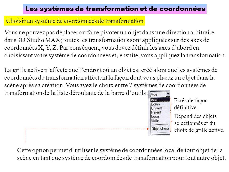 Les systèmes de transformation et de coordonnées Choisir un système de coordonnées de transformation Vous ne pouvez pas déplacer ou faire pivoter un o