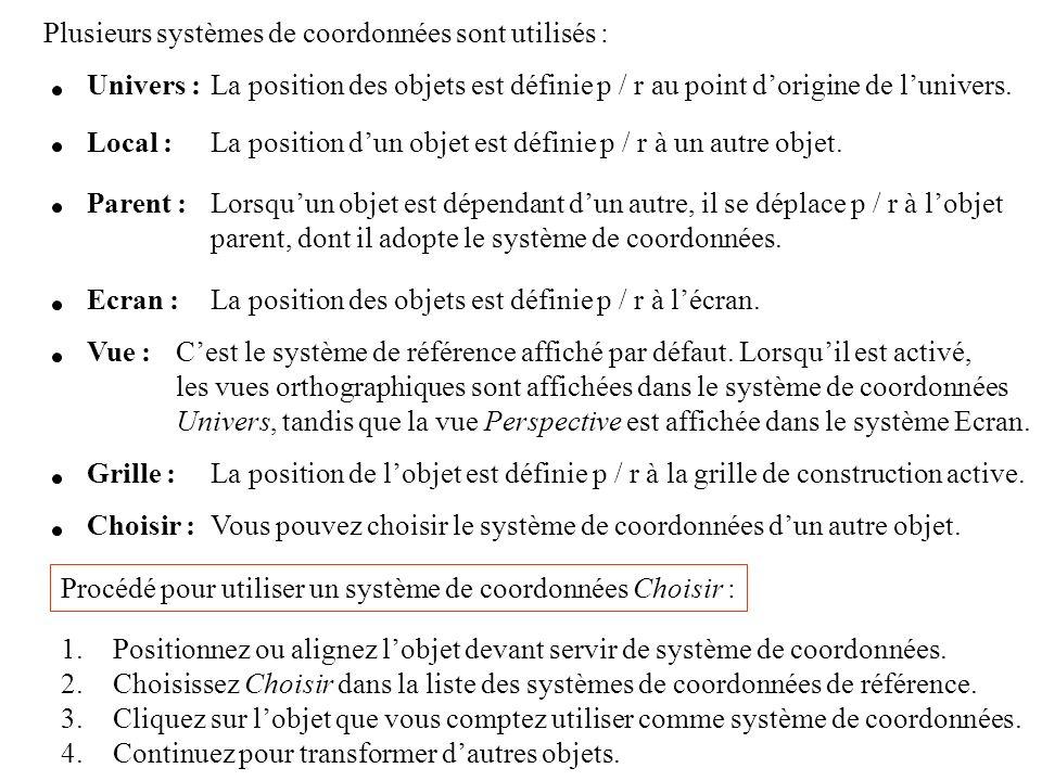 Plusieurs systèmes de coordonnées sont utilisés : Univers :La position des objets est définie p / r au point dorigine de lunivers. Local :La position