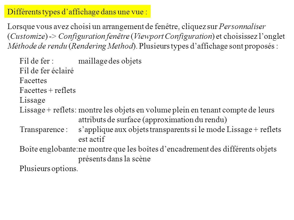 Différents types daffichage dans une vue : Lorsque vous avez choisi un arrangement de fenêtre, cliquez sur Personnaliser (Customize) -> Configuration