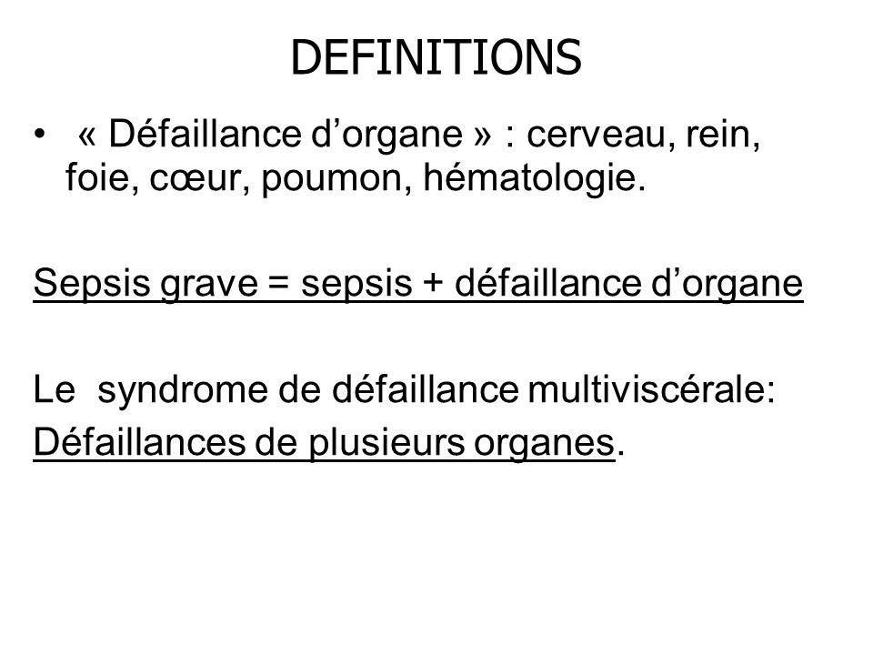 DEFINITIONS « Défaillance dorgane » : cerveau, rein, foie, cœur, poumon, hématologie. Sepsis grave = sepsis + défaillance dorgane Le syndrome de défai