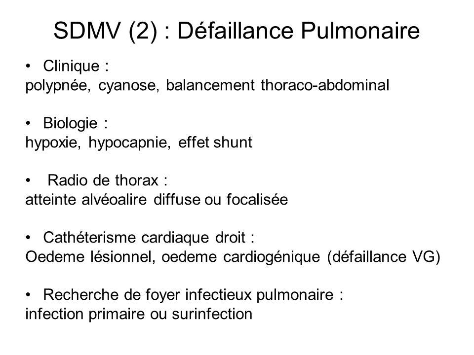 SDMV (2) : Défaillance Pulmonaire Clinique : polypnée, cyanose, balancement thoraco-abdominal Biologie : hypoxie, hypocapnie, effet shunt Radio de tho