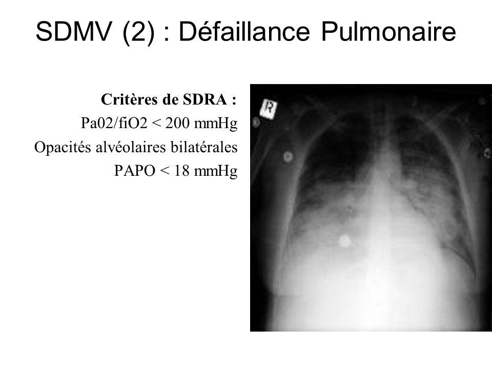 SDMV (2) : Défaillance Pulmonaire Critères de SDRA : Pa02/fiO2 < 200 mmHg Opacités alvéolaires bilatérales PAPO < 18 mmHg
