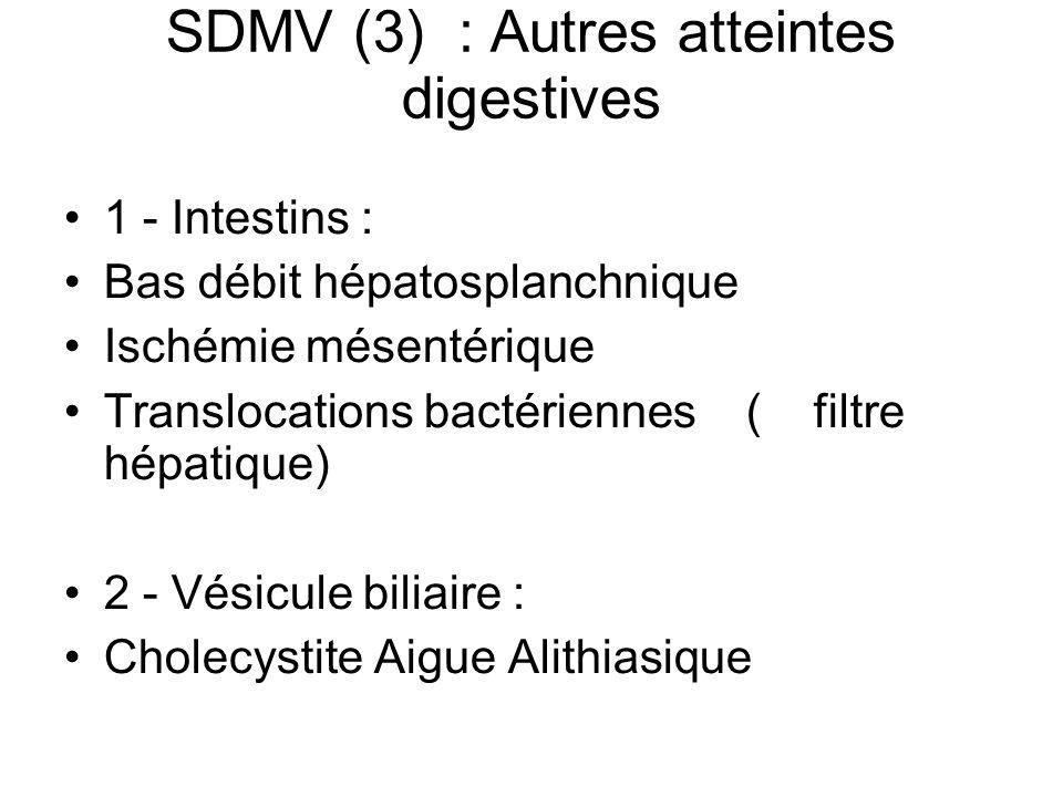 SDMV (3) : Autres atteintes digestives 1 - Intestins : Bas débit hépatosplanchnique Ischémie mésentérique Translocations bactériennes ( filtre hépatiq