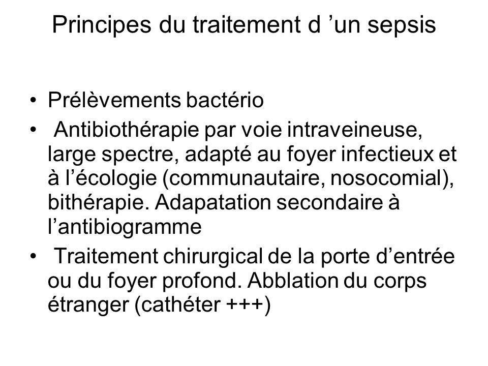 Principes du traitement d un sepsis Prélèvements bactério Antibiothérapie par voie intraveineuse, large spectre, adapté au foyer infectieux et à lécol