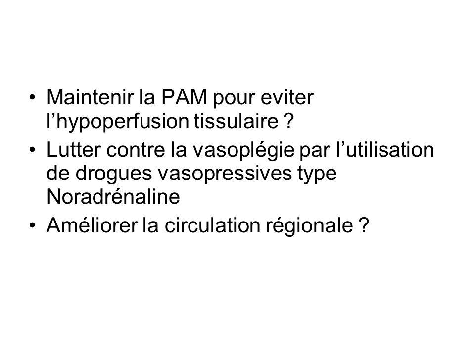 Maintenir la PAM pour eviter lhypoperfusion tissulaire ? Lutter contre la vasoplégie par lutilisation de drogues vasopressives type Noradrénaline Amél