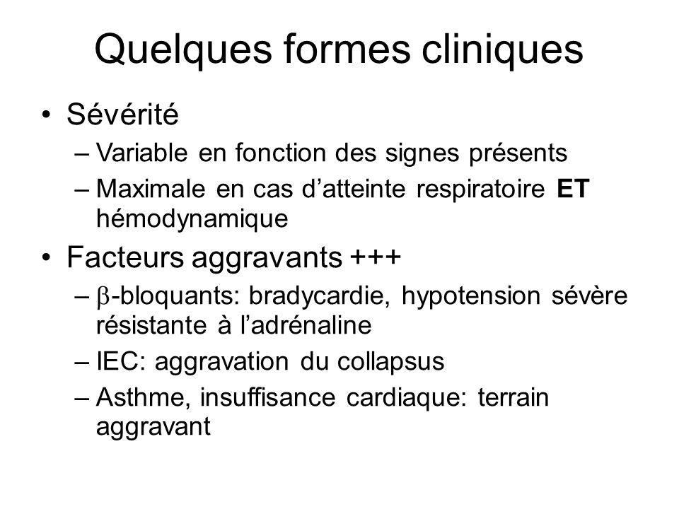 Quelques formes cliniques Sévérité –Variable en fonction des signes présents –Maximale en cas datteinte respiratoire ET hémodynamique Facteurs aggrava