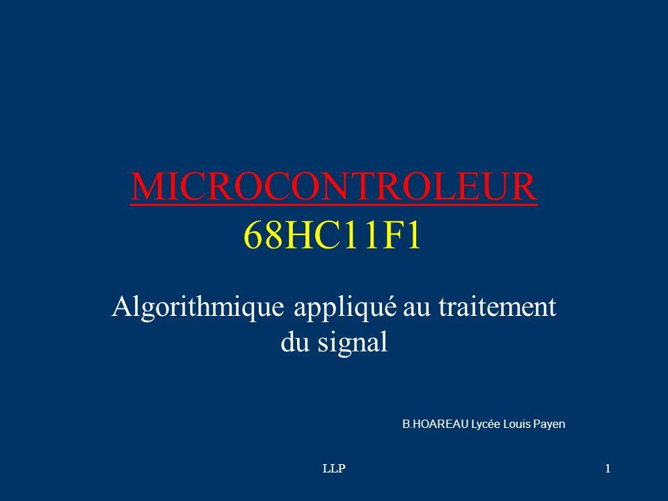 LLP21 F-compt4.bas : Mesurer une largeur dimpulsion Mesurer une largeur d impulsion Régler les impulsions à 5ms environ pour les tests Faire varier très doucement la largeur d impulsion (ou freq) #include startcf1.bas BYTE n,nt, flag,j BYTE T byte comp,comp2,mb DDRD = 0 Port D en entrée DDRA = %01001111 A0 à A3 en sortie A4,A5,A7 en entrée A6 en sortie utilisation du registre PA : Pulse Accumulator PACTL.5=1 PMOD =1 Mode Pulsetimer : mesure le temps A7 mis à 1 PMOD =0 Mode comptage d impulsions (Ne pas confondre avec le timer) PACTL.4=0 PEDG =0 PACTL.6=1 PAEN Validation pour travailler en compteur/pulsetimer sur A7 TMSK2.4=1 PAII = 1 Validation interruption sur A7 TFLG2.4=1 PAIF =1 Flag Autorise nouvelle interruption sur A7 TMSK2.5=0 POVI =0 Pas de validation Interruption overflow TFLG2.5=0 POVF =0 Flag autorise pas new int overflow Ne pas activer si mode pulsetimer sur A7 TMSK2.6=0 RTII=0 Inhibition du timer (arret timer) TFLG2.6=0 RTIF=0 flag lié au timer cli autoriser les inter