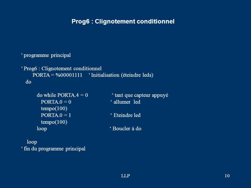 LLP9 ' Prog5 : Utilisation d'un masque PORTA = %00001111 ' Initialisation (éteindre leds) do If PORTA.4 = 0 then PORTA = PORTA AND %11110101 ' allumer