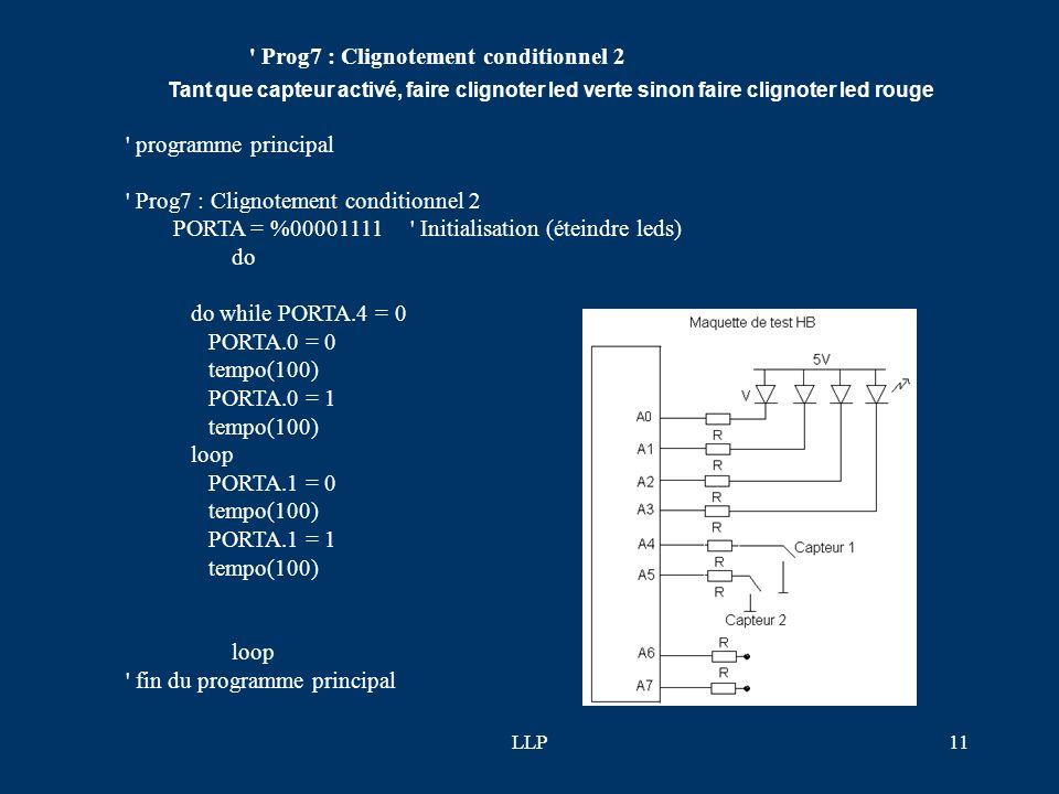 LLP10 ' programme principal ' Prog6 : Clignotement conditionnel PORTA = %00001111 ' Initialisation (éteindre leds) do do while PORTA.4 = 0 tant que ca