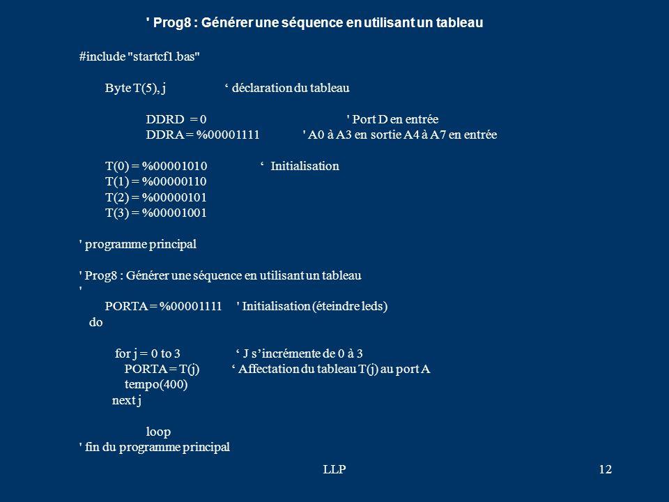 LLP11 ' programme principal ' Prog7 : Clignotement conditionnel 2 PORTA = %00001111 ' Initialisation (éteindre leds) do do while PORTA.4 = 0 PORTA.0 =