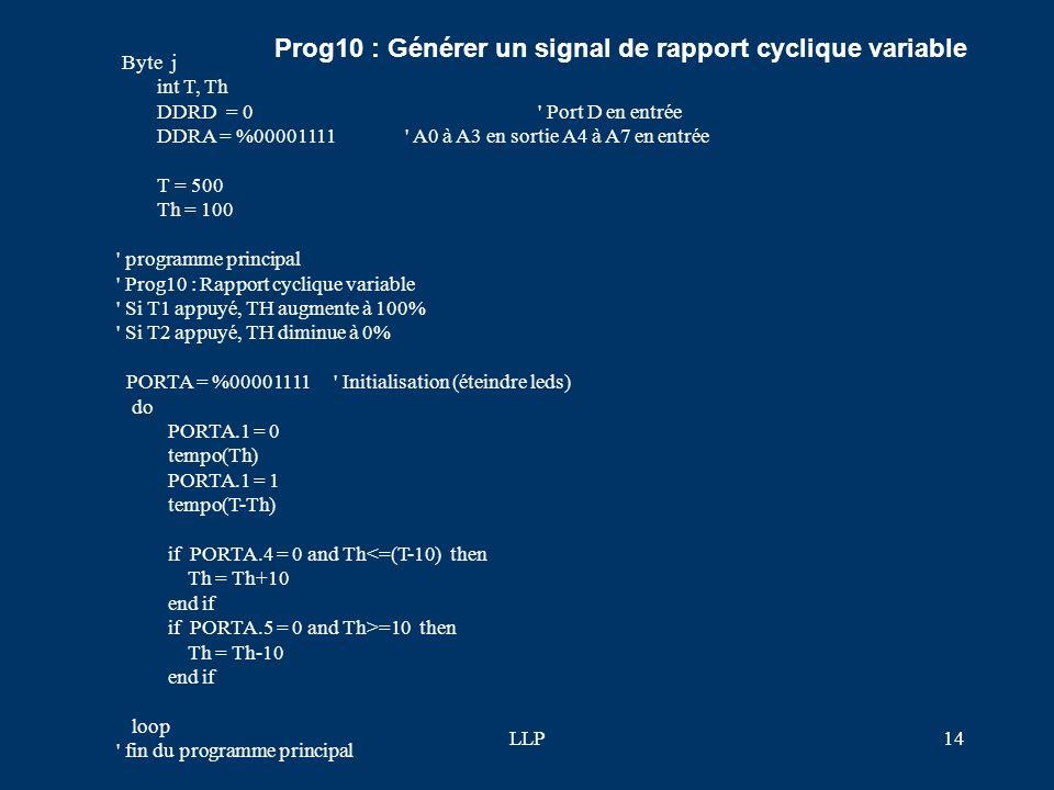LLP13 ' programme principal ' Prog9 : Compter des impulsions et afficher sur leds ' PORTA = %00001111 ' Initialisation (éteindre leds) do do loop unti