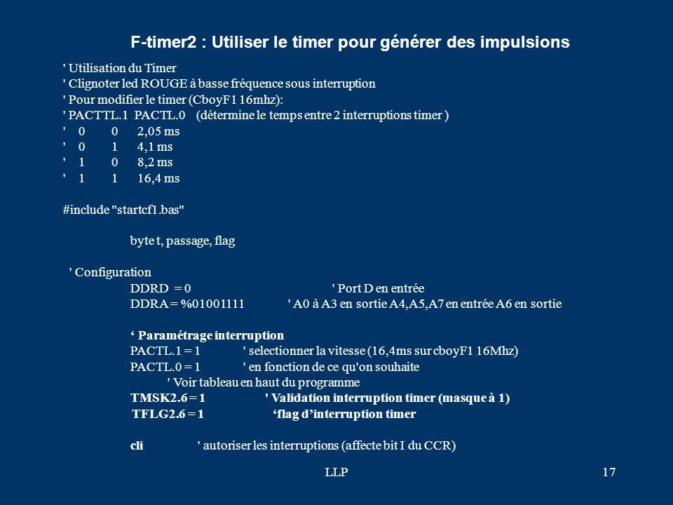 LLP16 Notion sur les interruptions et principe général de mise en oeuvre Lorsque le microprocesseur exécute les instructions du programme principal, i