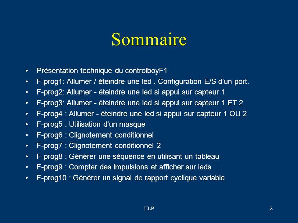 LLP2 Sommaire Présentation technique du controlboyF1 F-prog1: Allumer / éteindre une led.