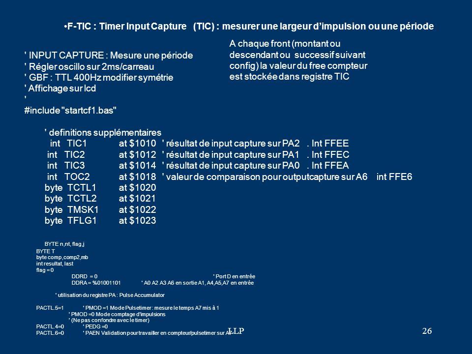 LLP25 cli' autoriser les inter lcdinit() print